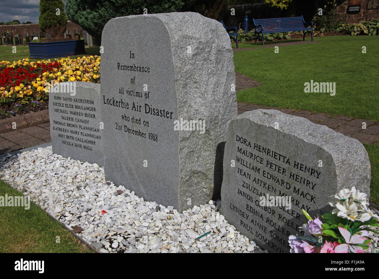 Lockerbie PanAm103 In Rememberance Memorial Stones,Scotland - Stock Image