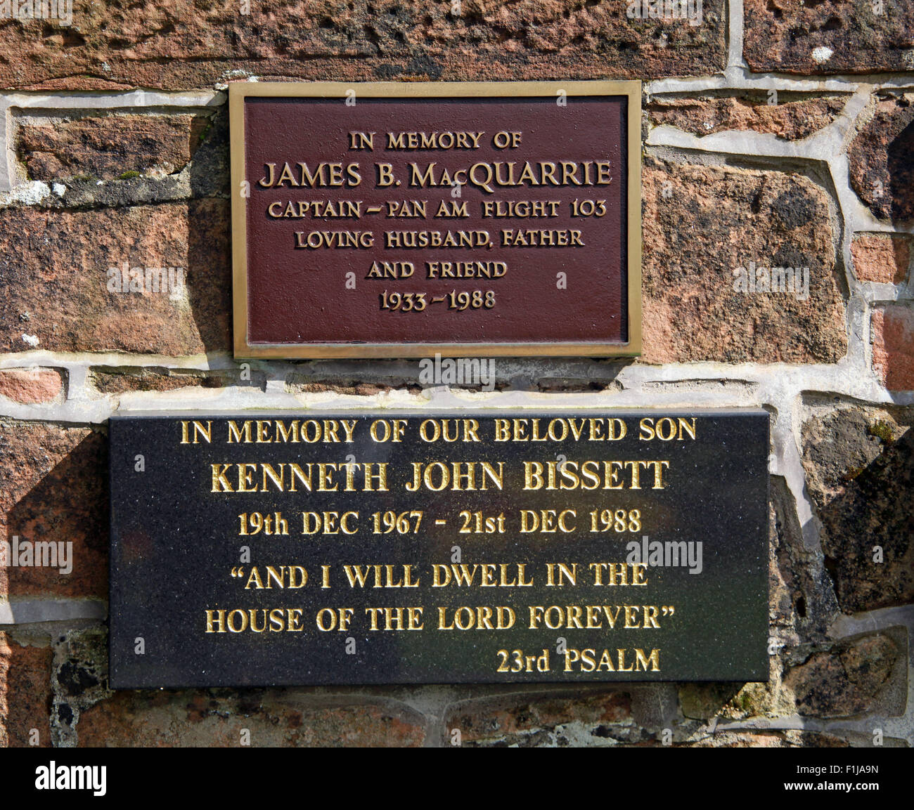Lockerbie PanAm103 In Rememberance Memorial James B. MacQuarrie Captain Kenneth John Bissett, Scotland - Stock Image