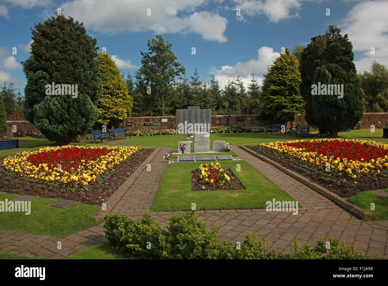 Lockerbie PanAm103 In Rememberance Memorial Garden wide shot,Scotland - Stock Image