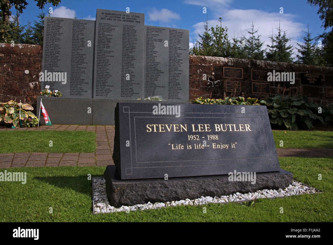 Lockerbie PanAm103 In Rememberance Memorial Steven Lee Butler - Life Is Life Enjoy It,Scotland Stock Photo