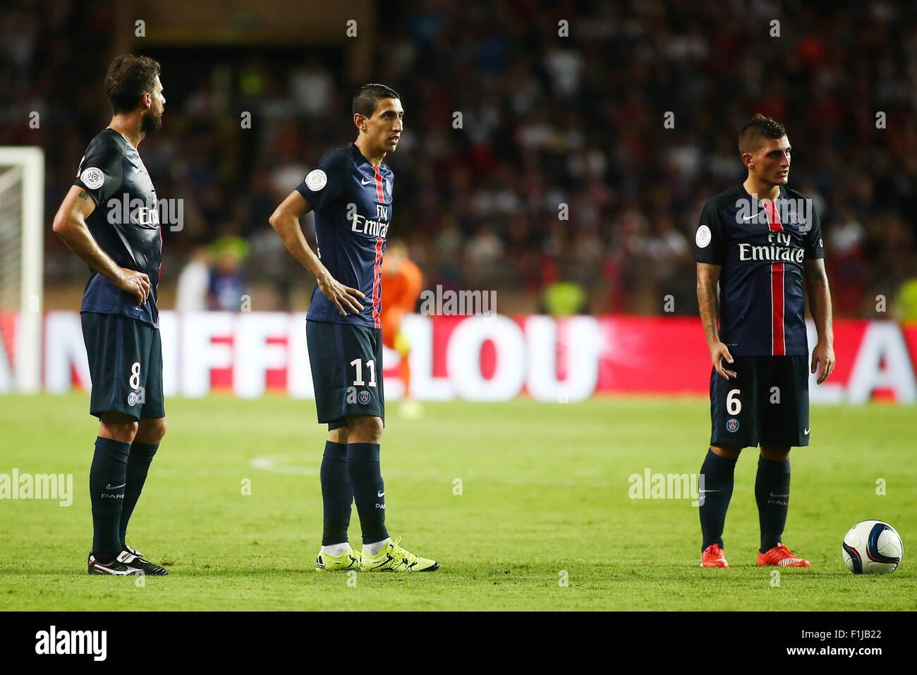 Thiago Motta/Angel Di Maria/Marco Verratti - 30.08.2015 - Monaco/PSG ...