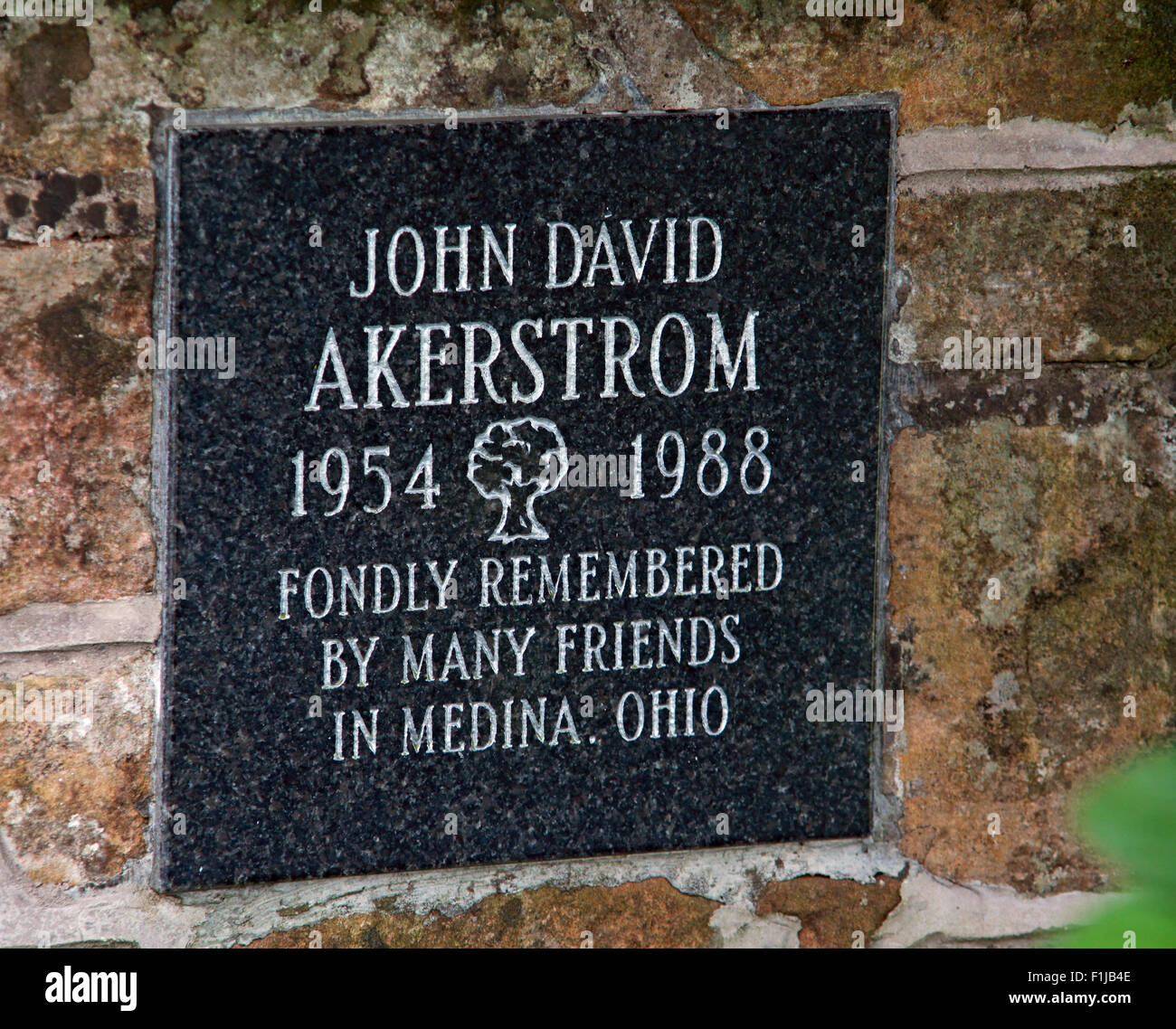 Lockerbie PanAm103 In Rememberance Memorial John David Akerstrom, Scotland - Stock Image