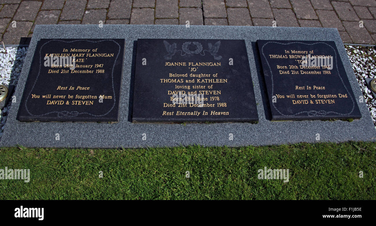 Lockerbie PanAm103 In Rememberance Memorial Stones Kathleen Mary Flannigan Joanne Tom Thomas, Scotland - Stock Image