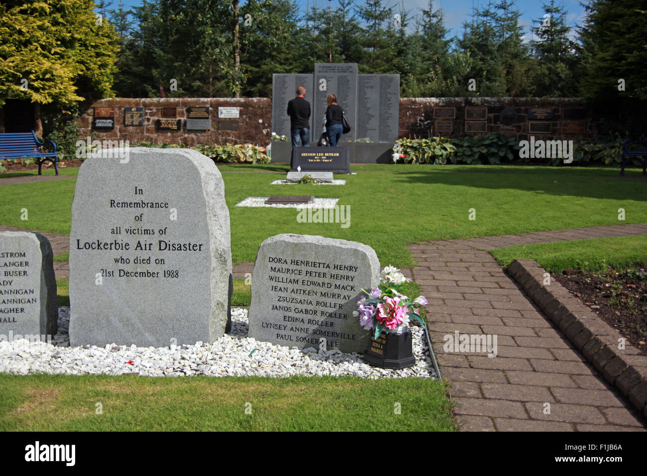 Lockerbie PanAm103 In Rememberance Memorial Visitors Remembering, Scotland - Stock Image
