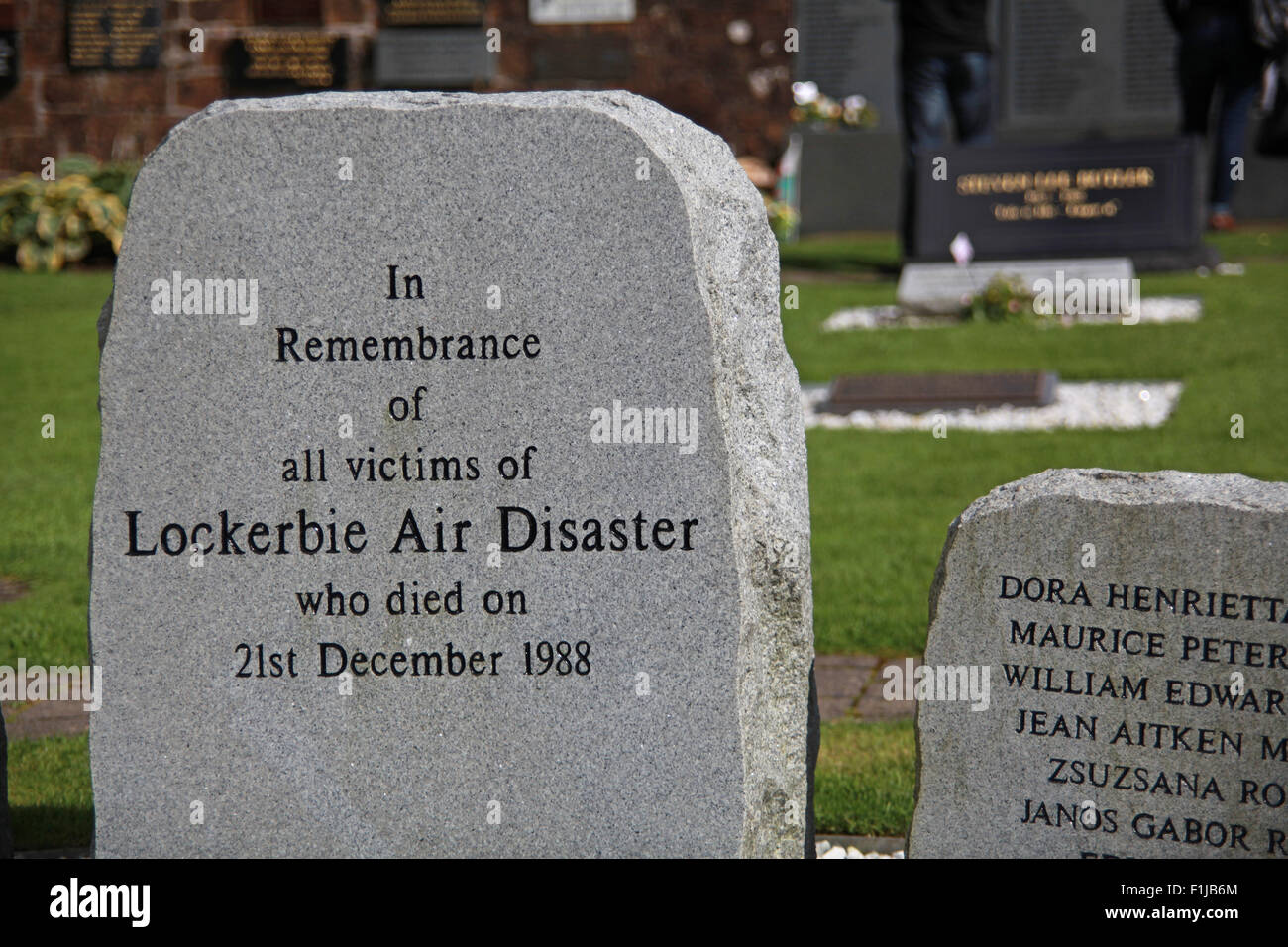 Lockerbie PanAm103 In Rememberance Memorial Stone, Scotland, UK - Stock Image