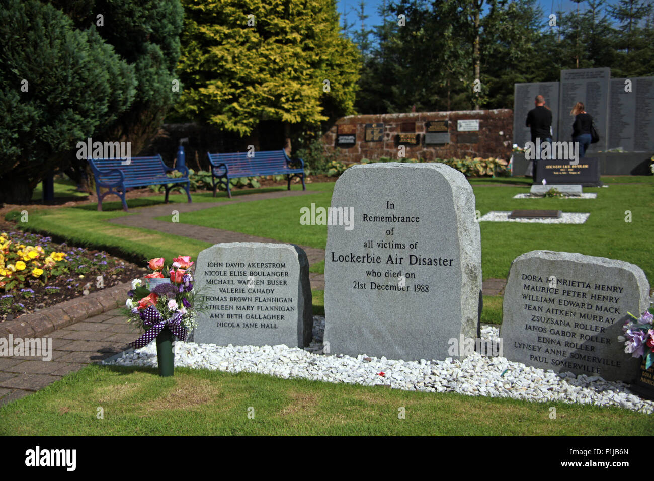 Lockerbie PanAm103 In Rememberance Memorial two Visitors Remembering, Scotland - Stock Image