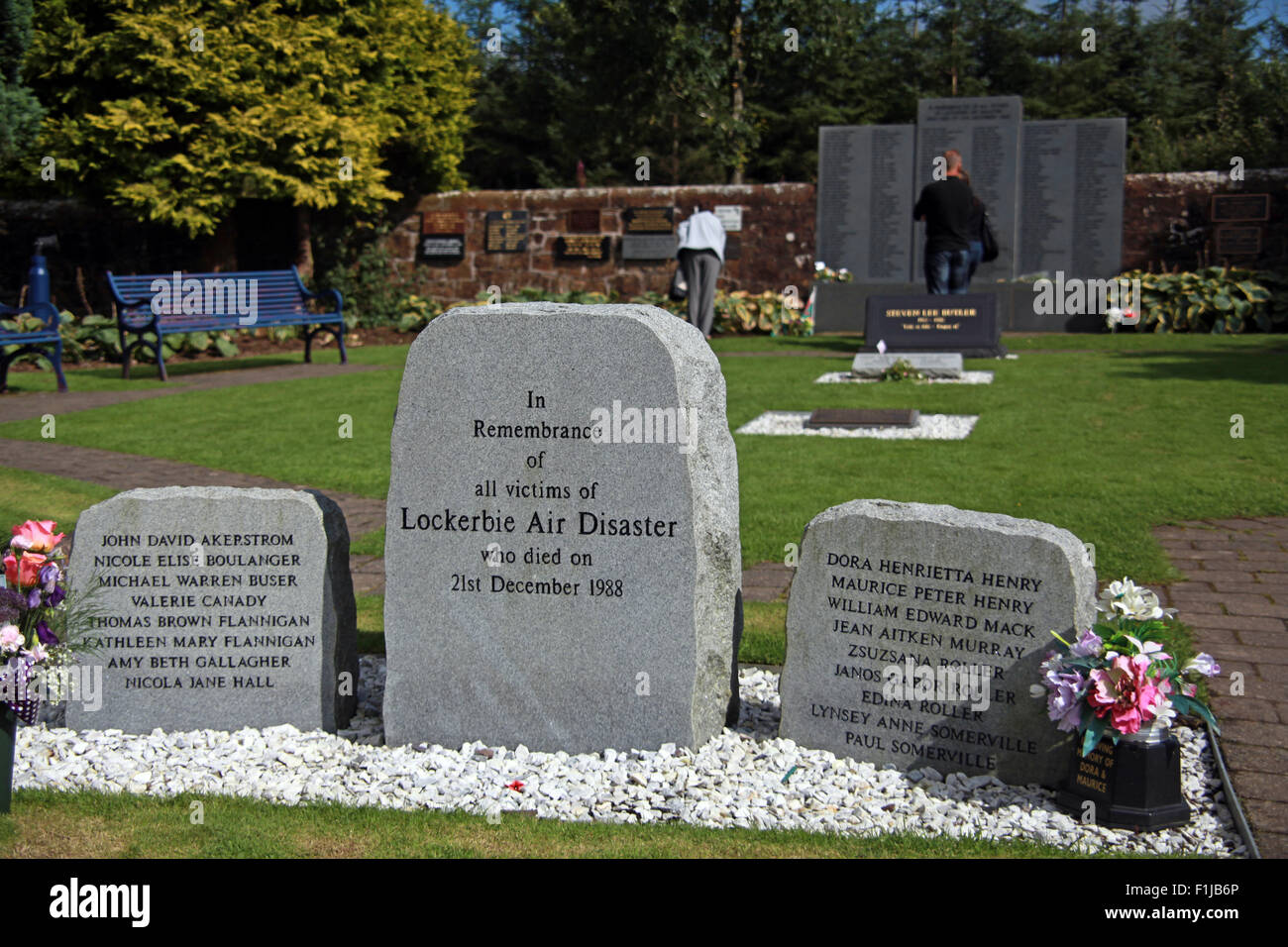 Lockerbie PanAm103 In Rememberance Memorial Visitors Remembering, Scotland Stock Photo
