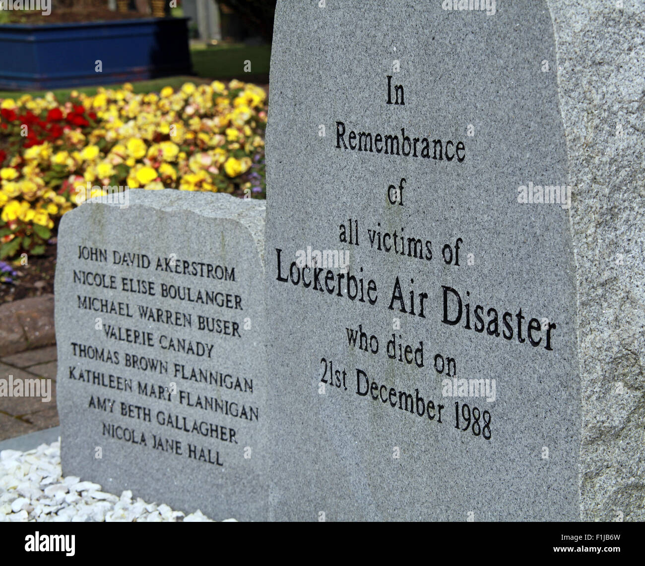 Lockerbie PanAm103 In Rememberance Memorial Stones Close-up, Scotland - Stock Image