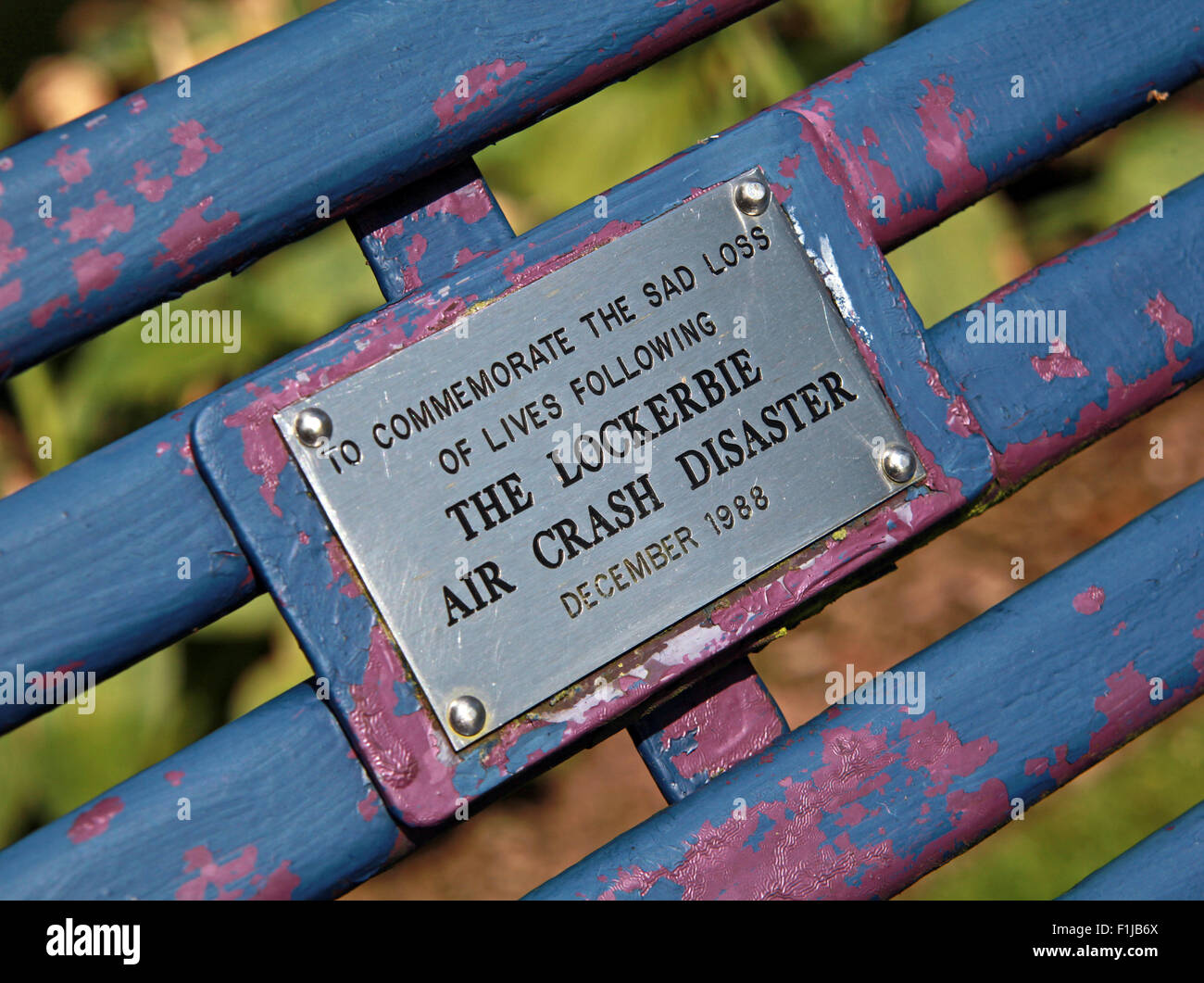 Lockerbie PanAm103 In Rememberance Memorial Bench,Scotland Stock Photo