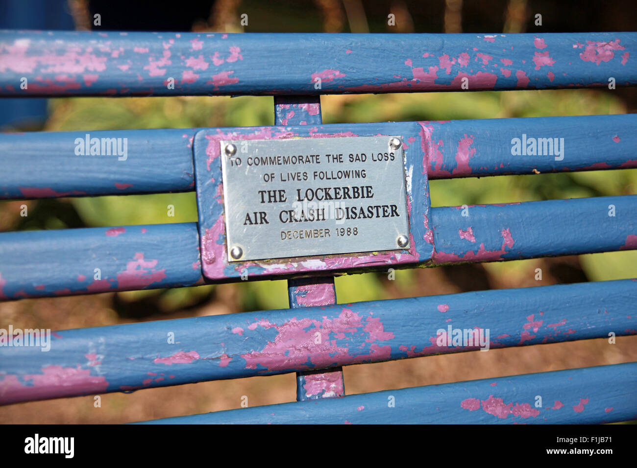 Lockerbie PanAm103 In Rememberance Memorial bench, Scotland - Stock Image