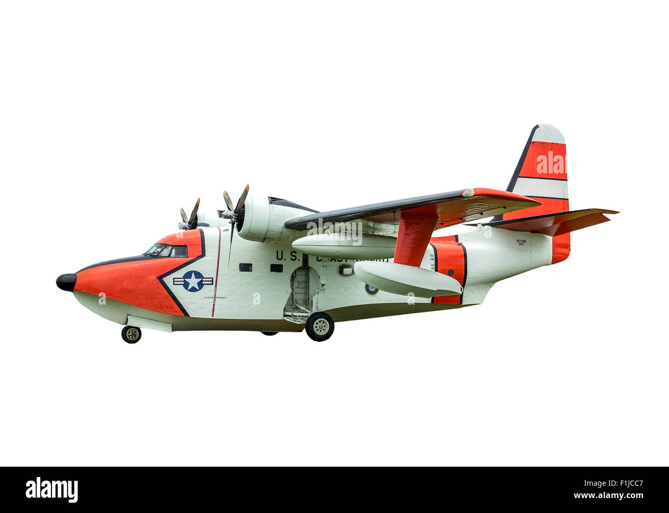 A HU-16 Albatross twin radial engine amphibious flying boat on a white background. Stock Photo