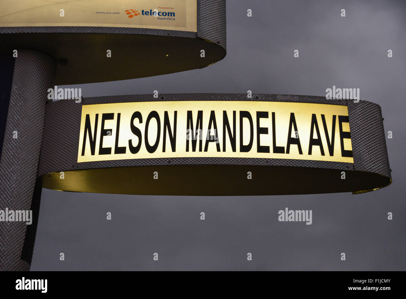 Nelson Mandela Avenue sign at dusk, Windhoek (Windhuk), Khomas Region, Republic of Namibia - Stock Image