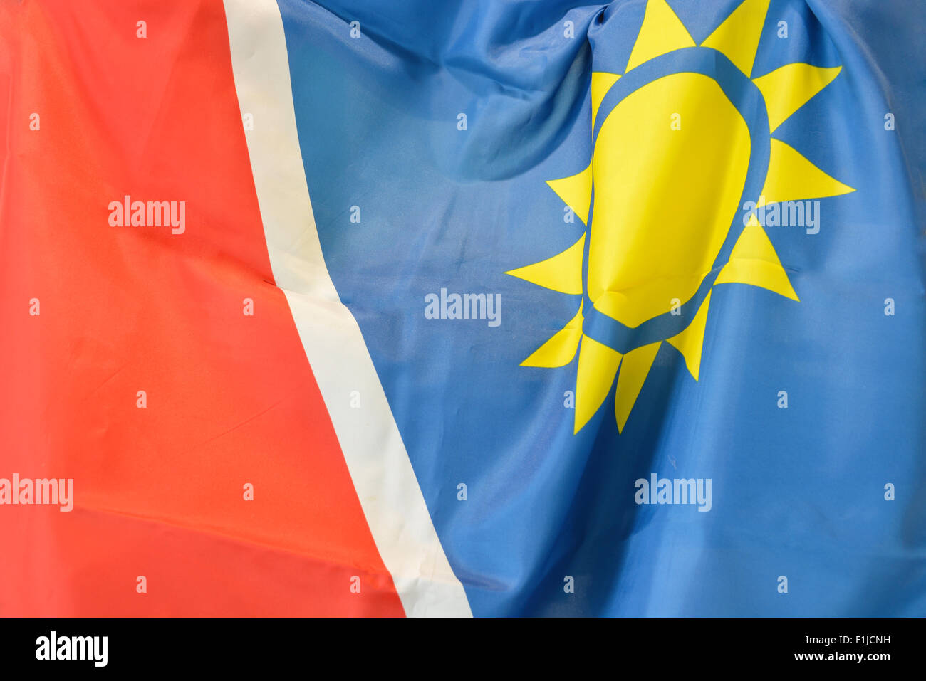 Namibian National Flag, Windhoek (Windhuk), Khomas Region, Republic of Namibia - Stock Image