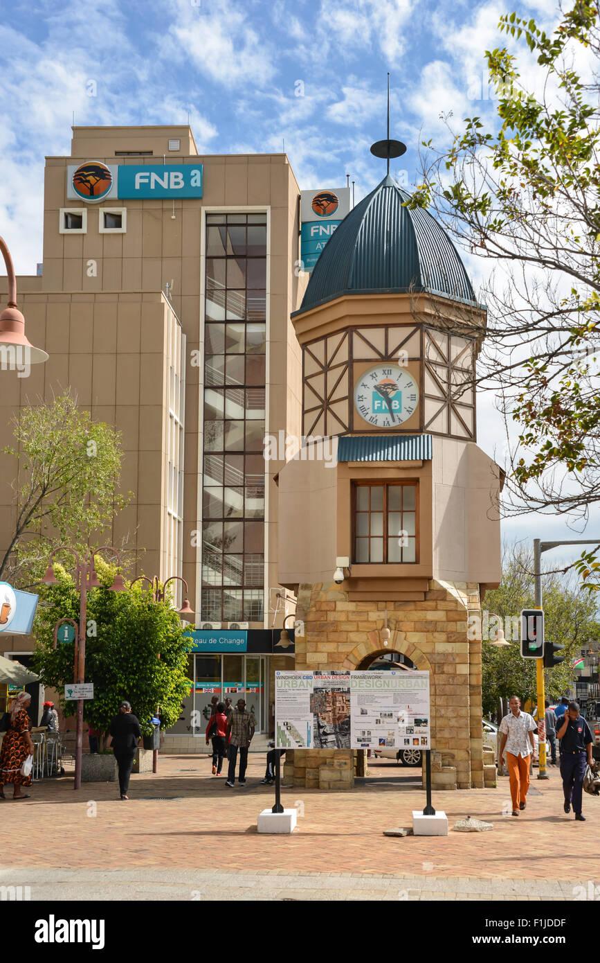 Clock Tower on Independence Avenue, Windhoek (Windhuk), Khomas Region, Republic of Namibia - Stock Image