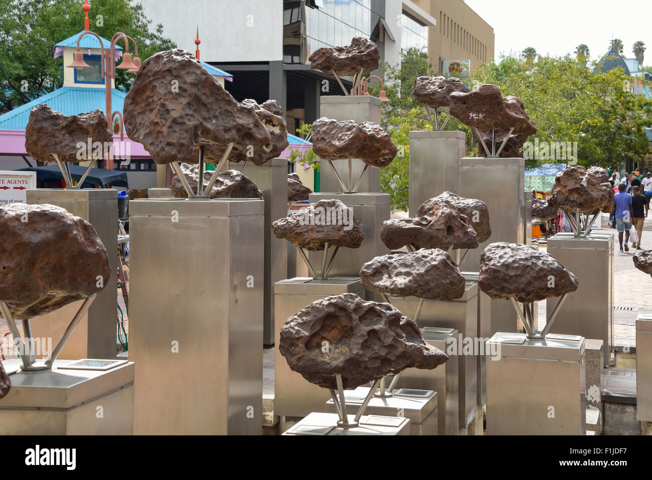 Gibeon meteorite Sculpture, Post Street Mall, Independence Avenue, Windhoek (Windhuk), Khomas Region, Republic of - Stock Image