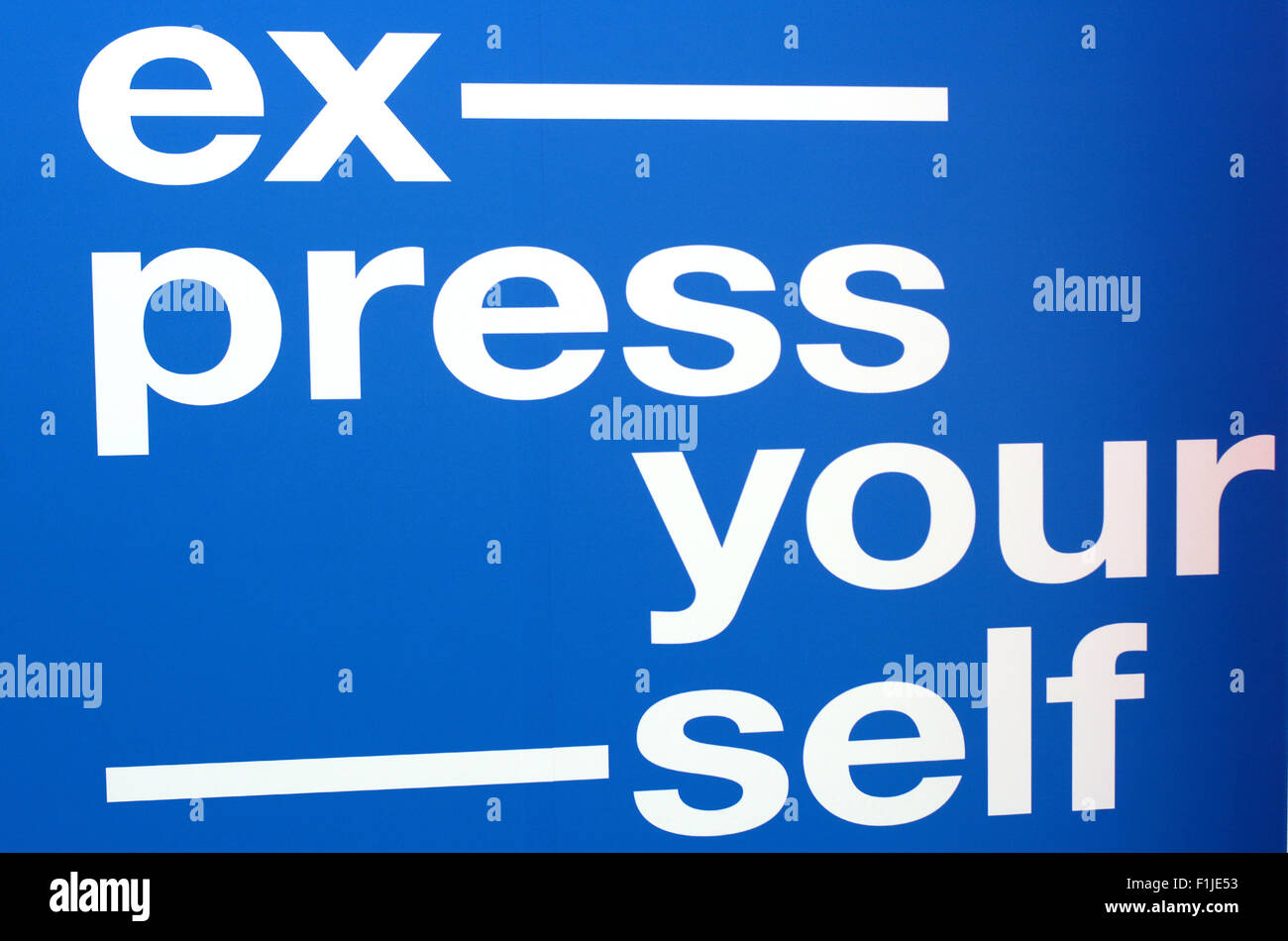 Express yourself text.Text write on wall. - Stock Image