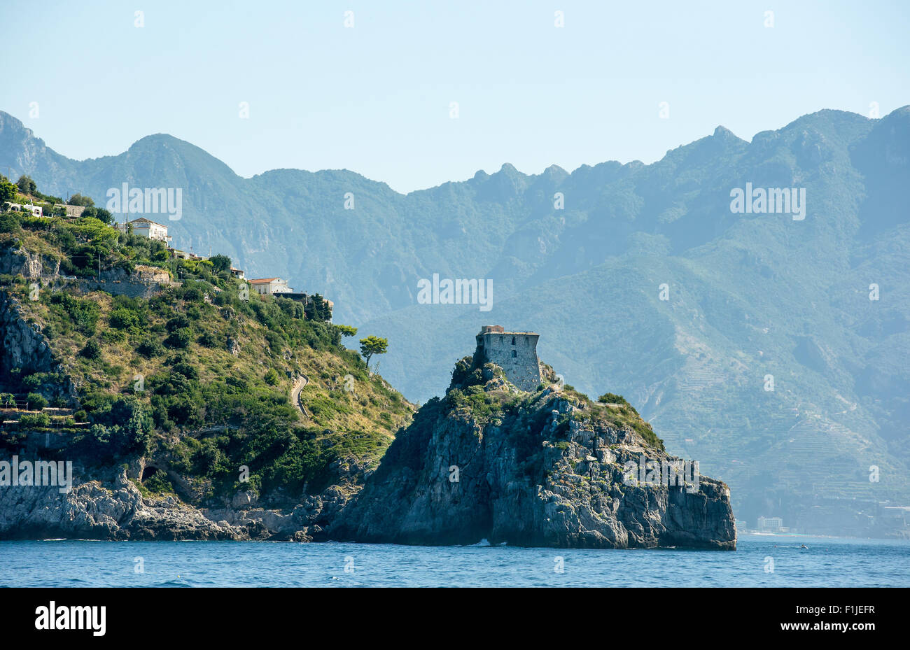 Watchtower in the town of Conca dei Marini on Amalfi Coast in the province of Salerno, Italy - Stock Image
