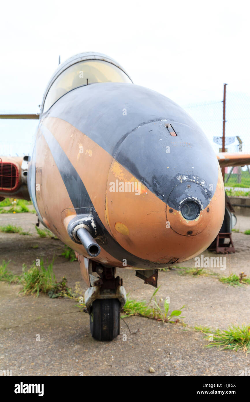 England, Manston airport museum. PZL Mielec TS-11 ISKRA, Polish jet trainer. Front view. - Stock Image