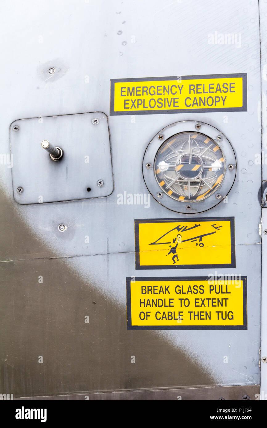 England, Manston airport museum. British Jaguar Fighter, rescue sign - Stock Image
