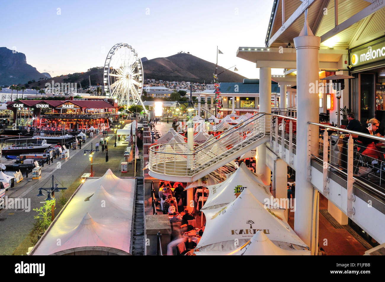 Victoria & Albert Waterfront at dusk, Cape Town, Western Cape Province, Republic of South Africa - Stock Image