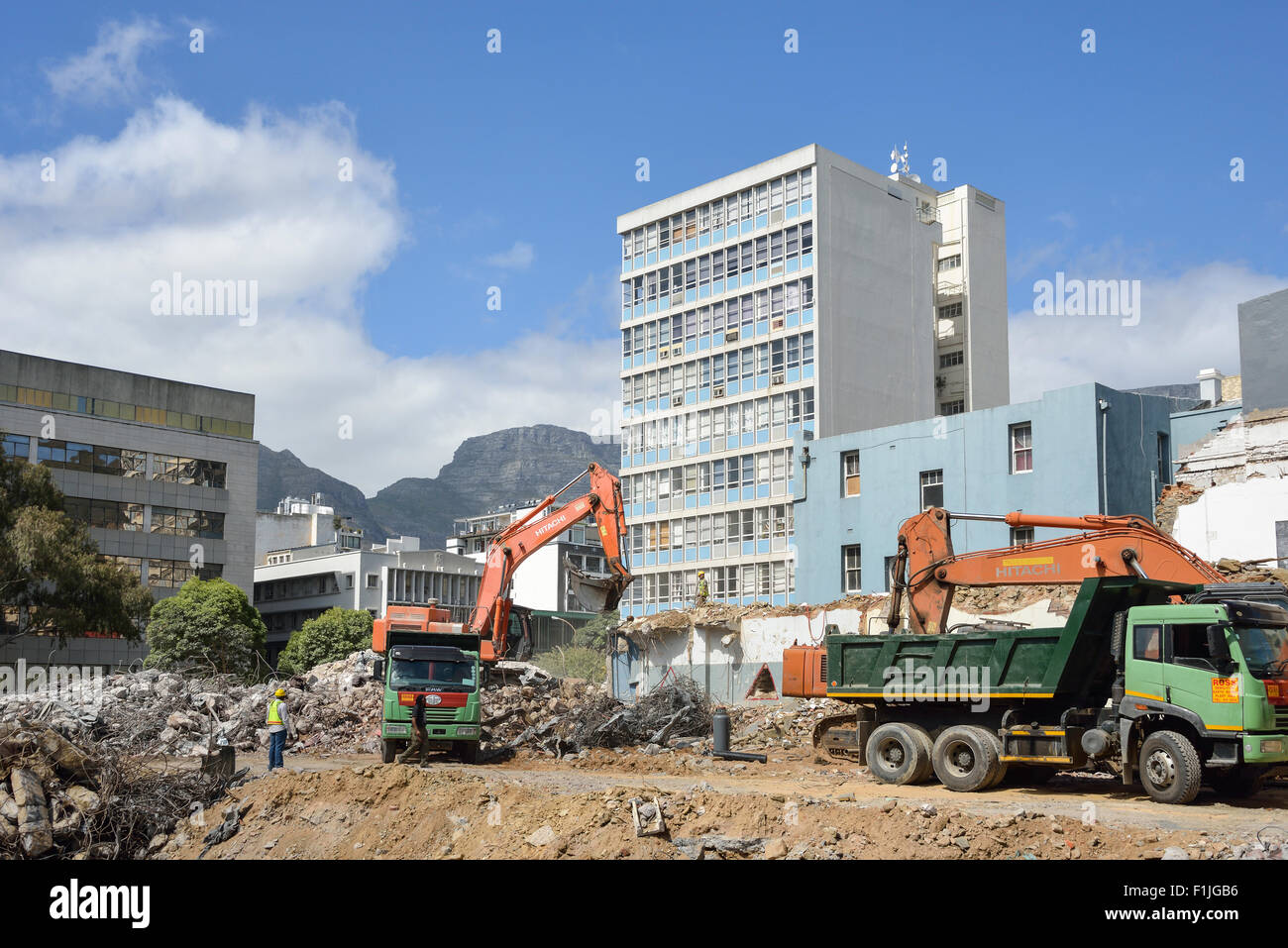 Demolition and clearance work in Central Business District, Cape Town, Western Cape Province, Republic of South - Stock Image