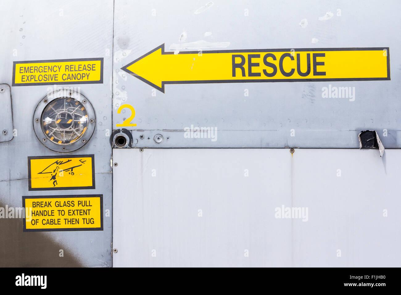 England, Manston airport museum. British GR3 Jaguar Fighter, rescue signs near cockpit - Stock Image