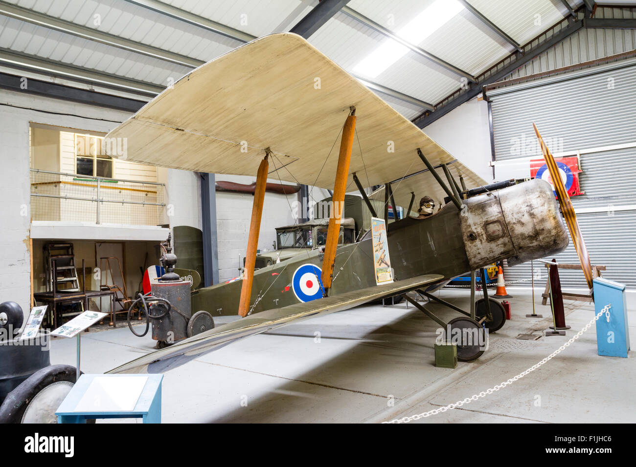 England, Manston Airfield Museum. Interior. Sopwith Strutter bi plane, side view. HDR photo realistic. - Stock Image