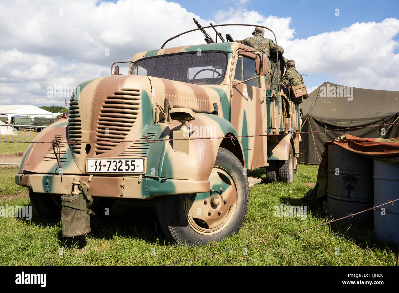 World war two German Army, Wehrmacht, German Truck, facing, brown and green paint pattern. Re-enactment - Stock Image