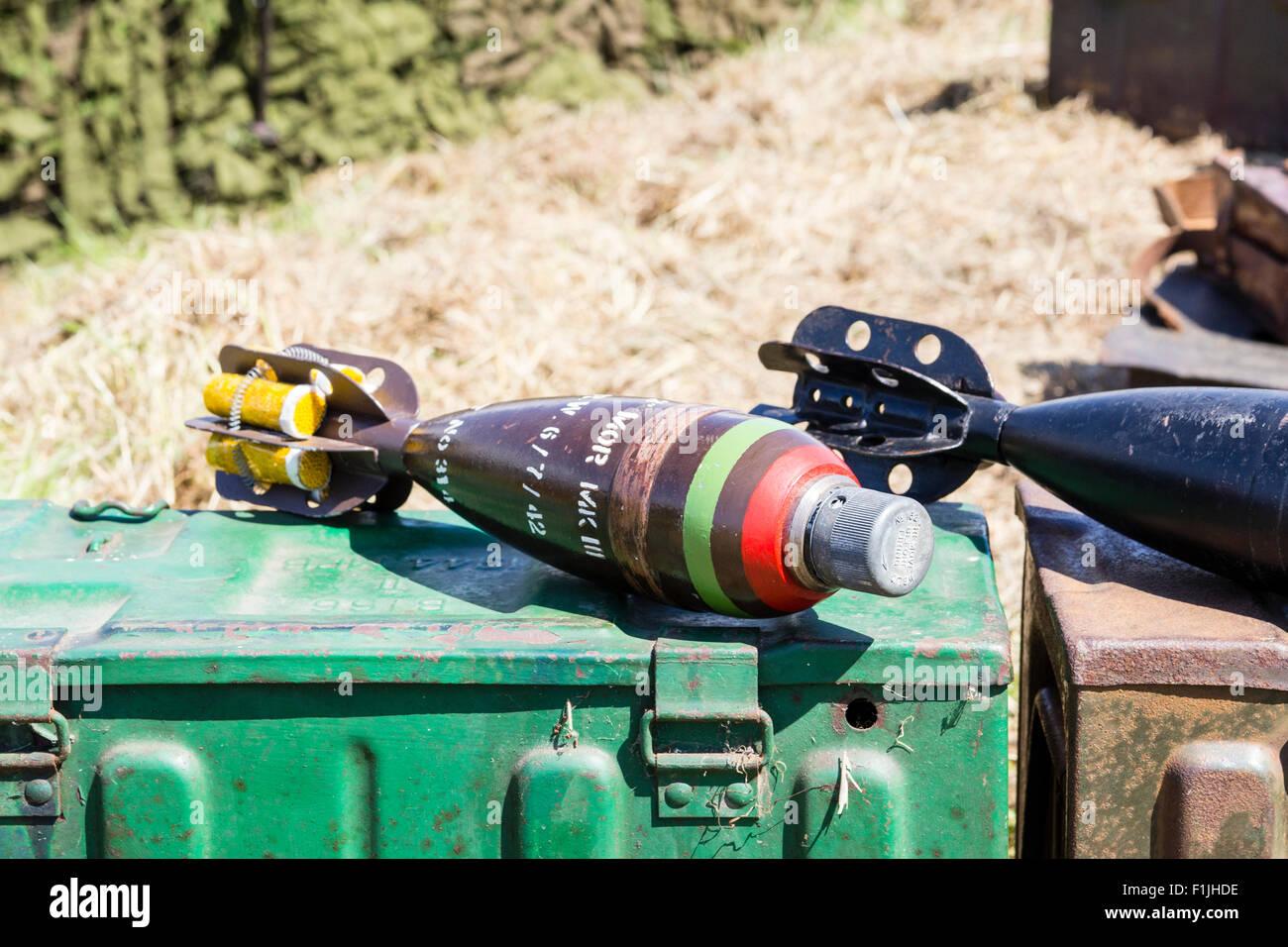 Second world war re-enactment. 3 inch morter bombs, mark 2, on sandbags - Stock Image