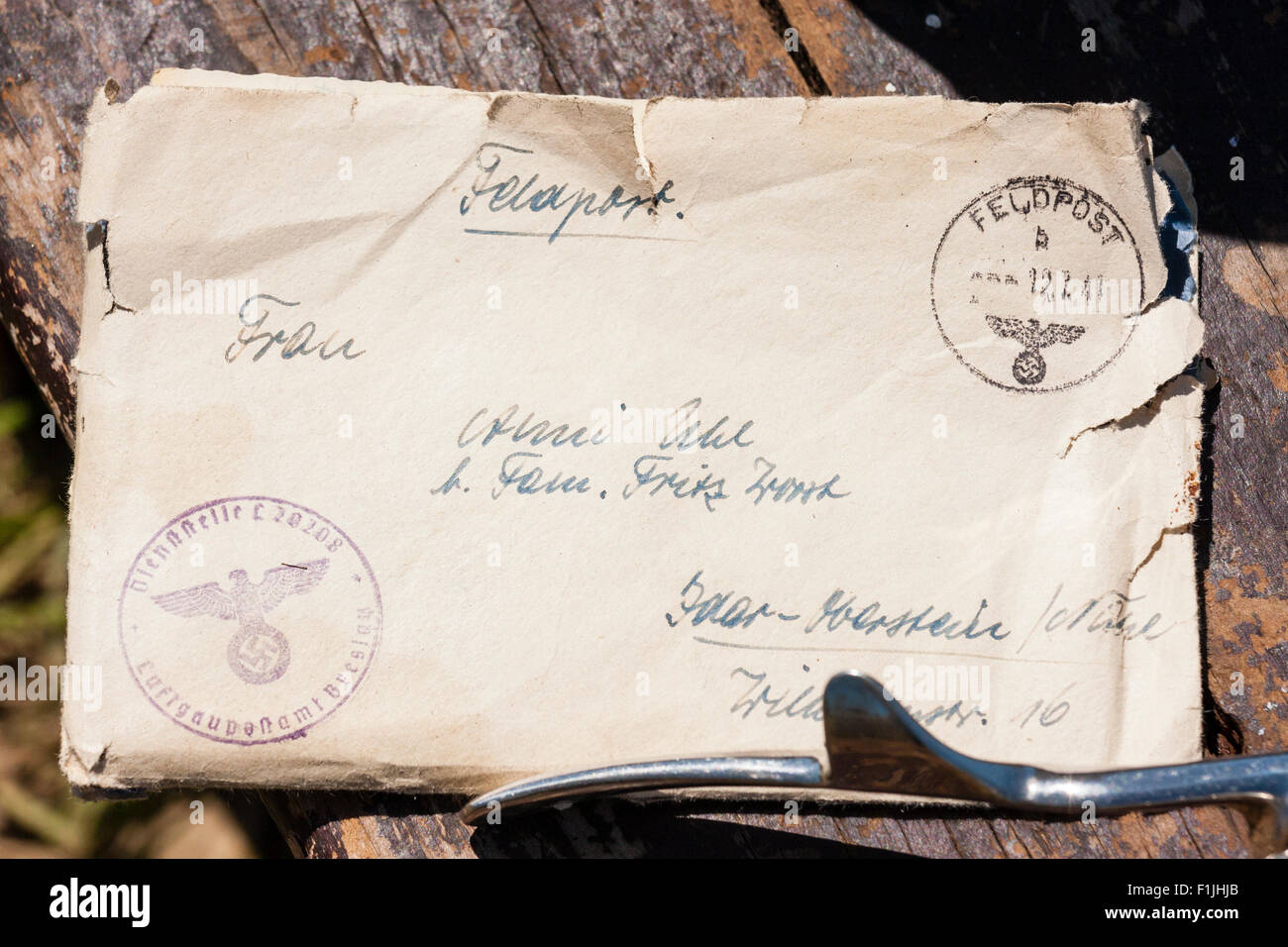 German world war two old letter, crumpled, torn. Field post, addressed and stamped. WW2 re-enactment - Stock Image