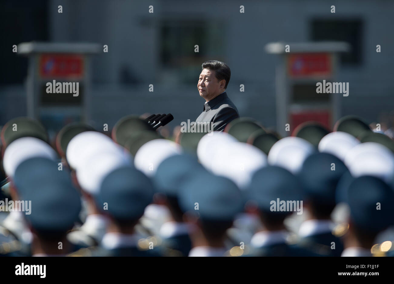 Beijing, China. 3rd Sep, 2015. Chinese President Xi Jinping inspects troops during the commemoration activities - Stock Image