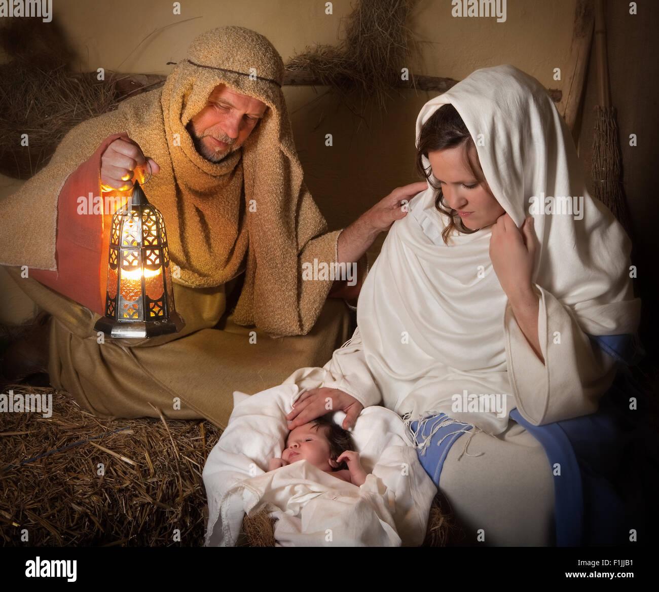 Live reenactment of the christmas nativity scene Stock Photo