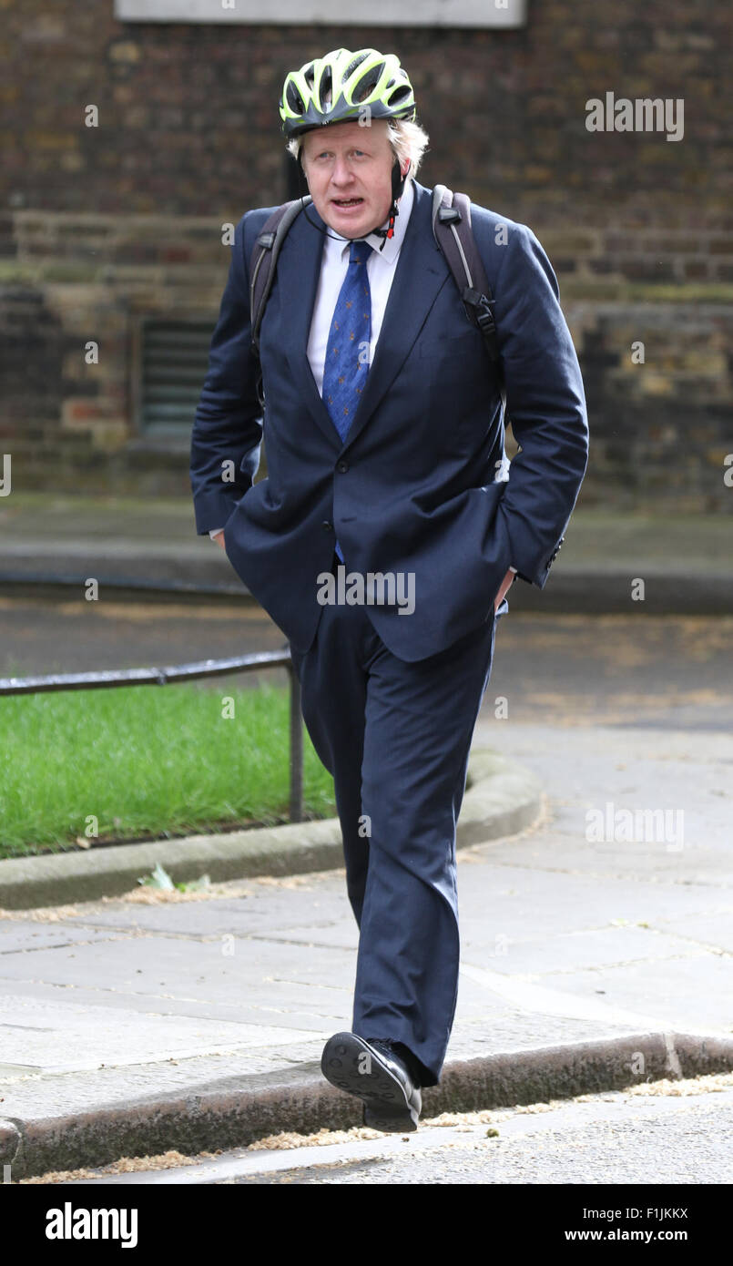 London, UK, 19th May 2015: Mayor of London, Boris Johnson arrives for cabinet meeting at Downing Street in London, - Stock Image