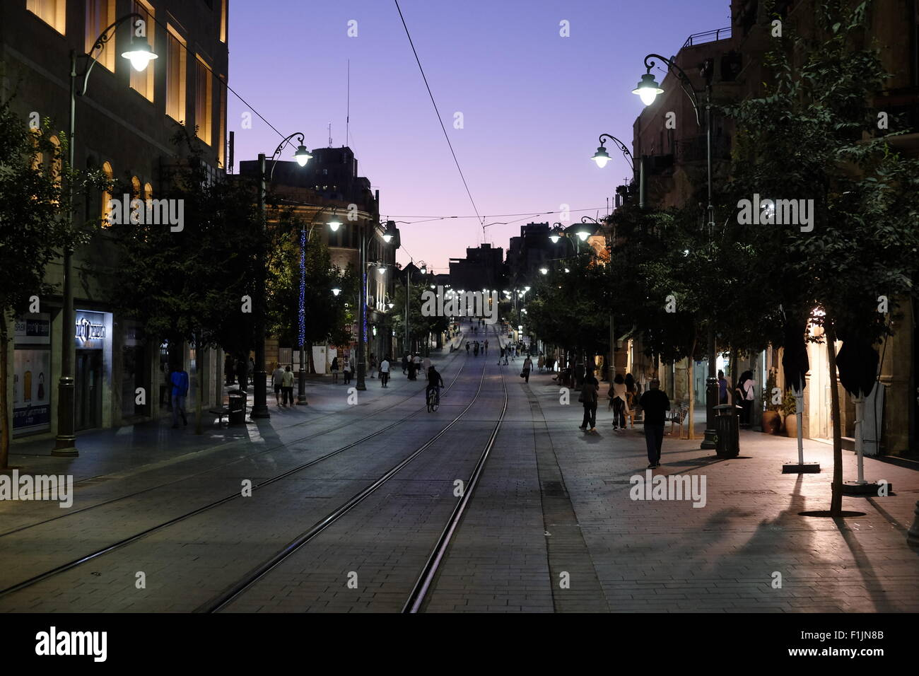 Friday eve in Jaffa road the longest and oldest major street in downtown West Jerusalem Israel - Stock Image