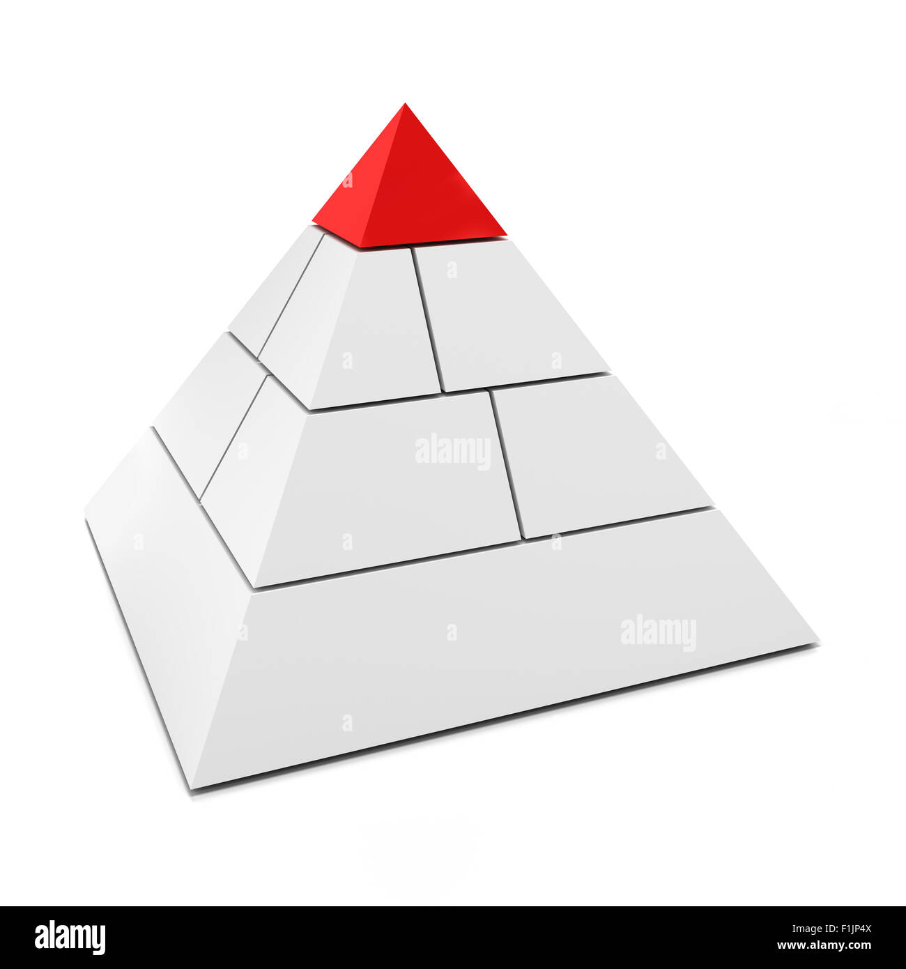 Blank 3d pyramid with top piece in red - Stock Image
