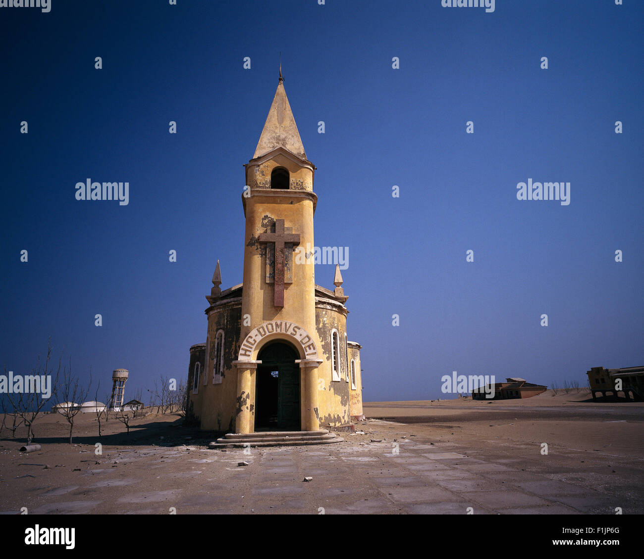 Deserted Church in Baia dos Tigres, Angola, Africa Stock Photo