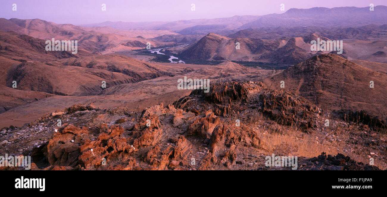 Overview Landscape and Kunene River, Angola and, Namibia, Africa Border Africa - Stock Image