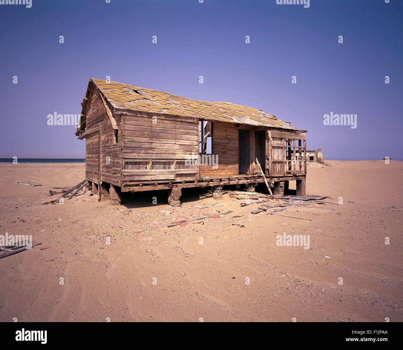 Deserted House Baya Del Tigre Angola, Africa - Stock Image