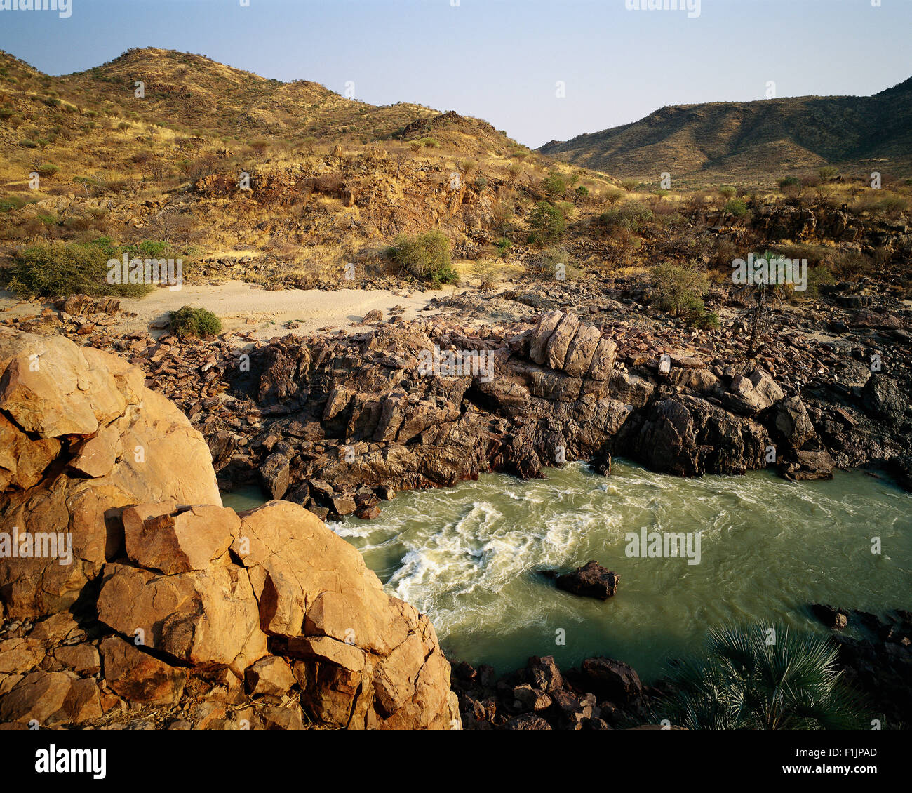 Kluane River Near Angola and, Namibia, Africa Border Africa - Stock Image