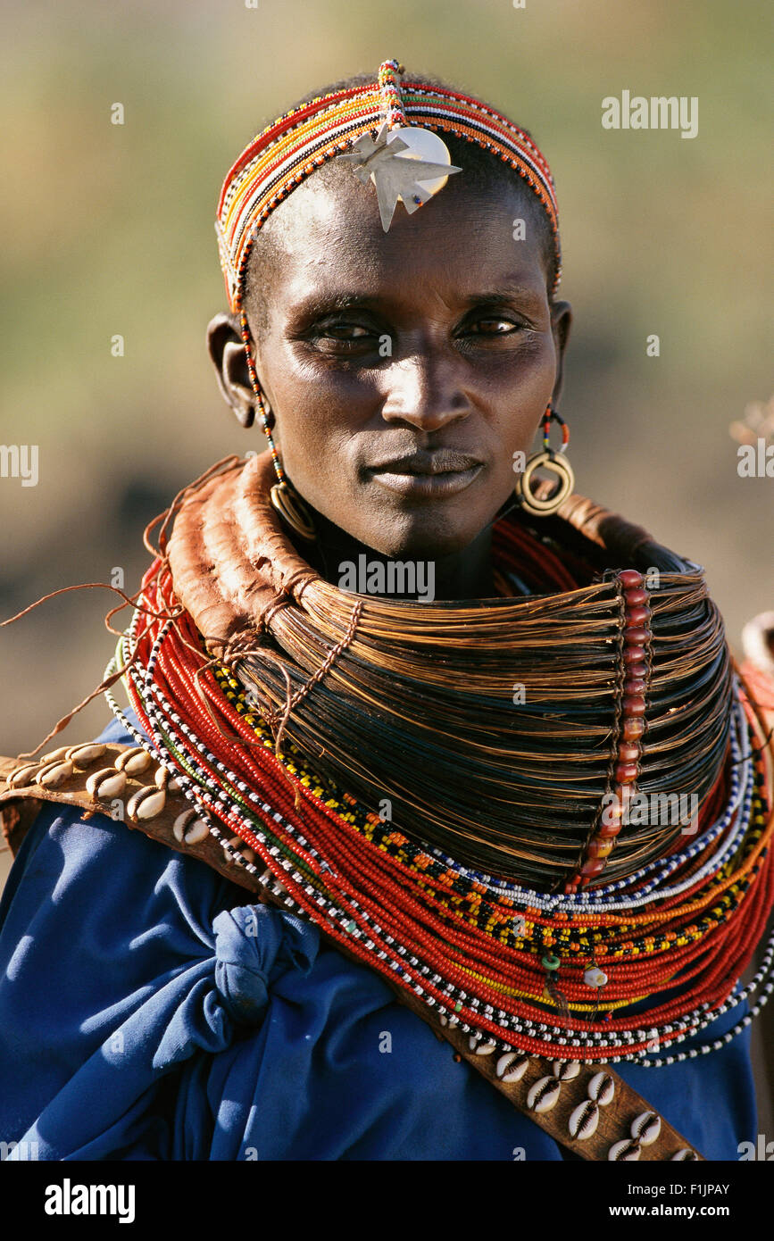 Portrait or Rendille Tribeswoman Kenya, Africa - Stock Image