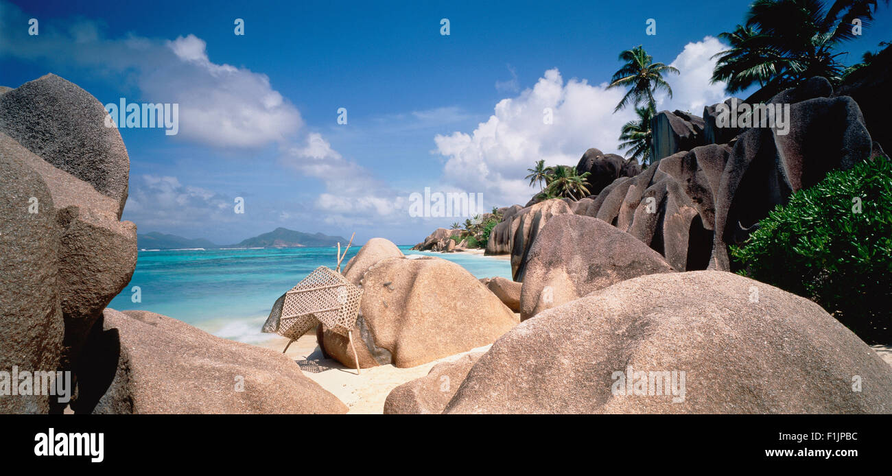 Lobster Cage on Beach Republic of Seychelles - Stock Image