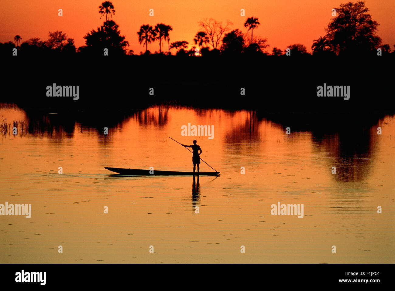 Boatman on the Chobe River at Sunset, Botswana, Africa Stock Photo