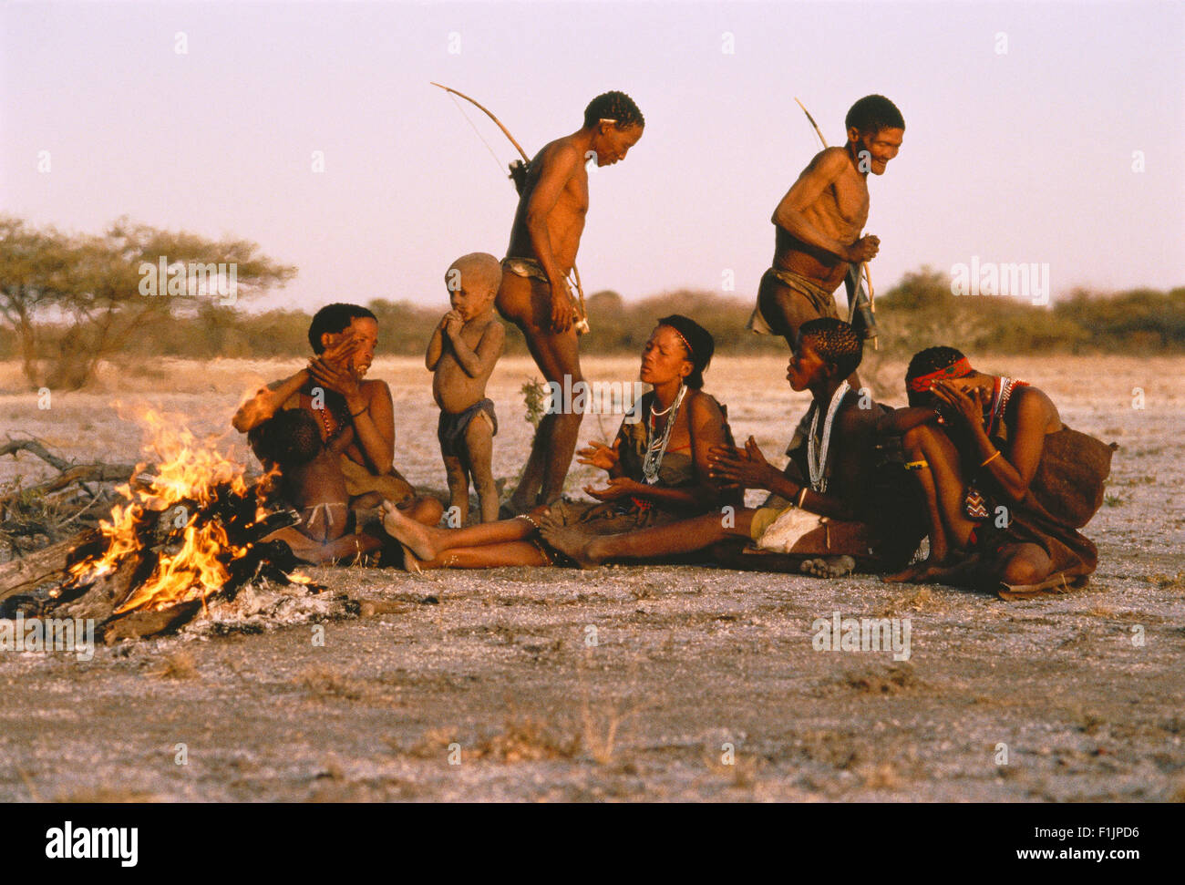 Bushmen Singing and Dancing Kalahari Desert, Botswana, Africa Stock Photo
