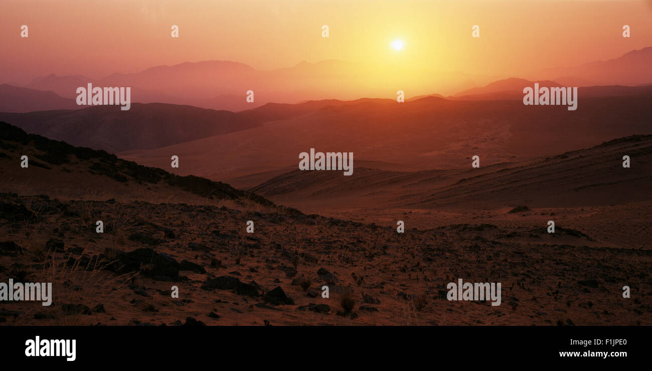 Sunset over Arid Landscape Kunene River, Namibia, Africa - Stock Image