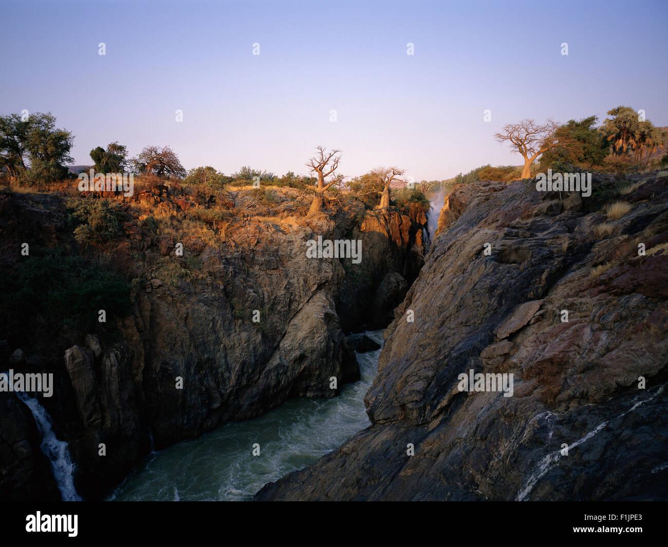 Landscape and Epupa Falls Kunene River, Namibia, Africa - Stock Image