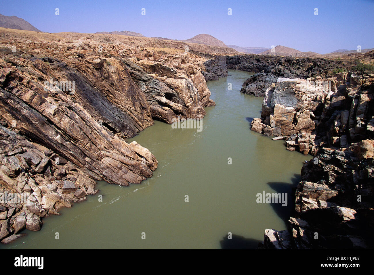 Overview Kunene River, Namibia, Africa - Stock Image