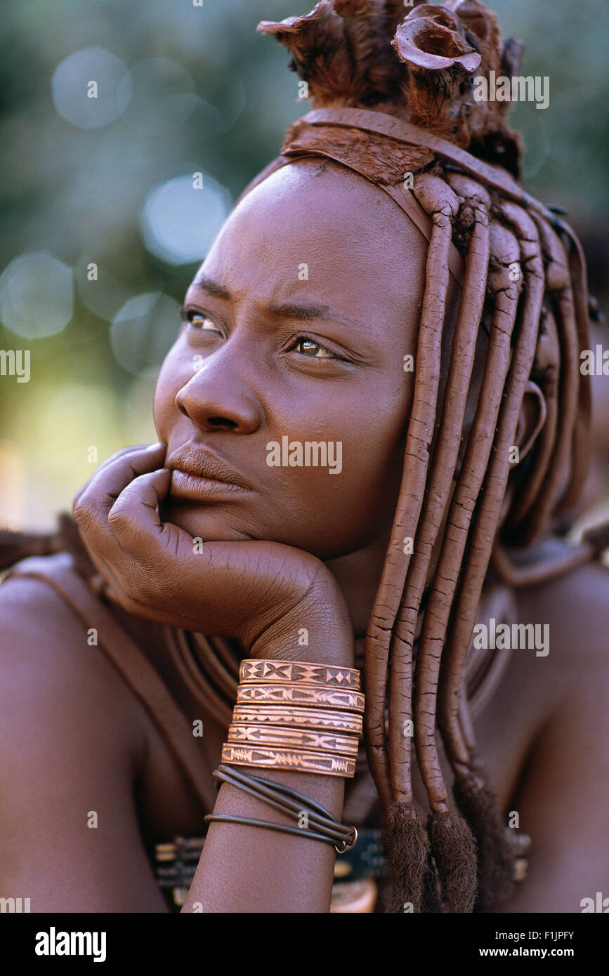 Portrait of Himba Woman in Traditional Dress, Namibia, Africa - Stock Image