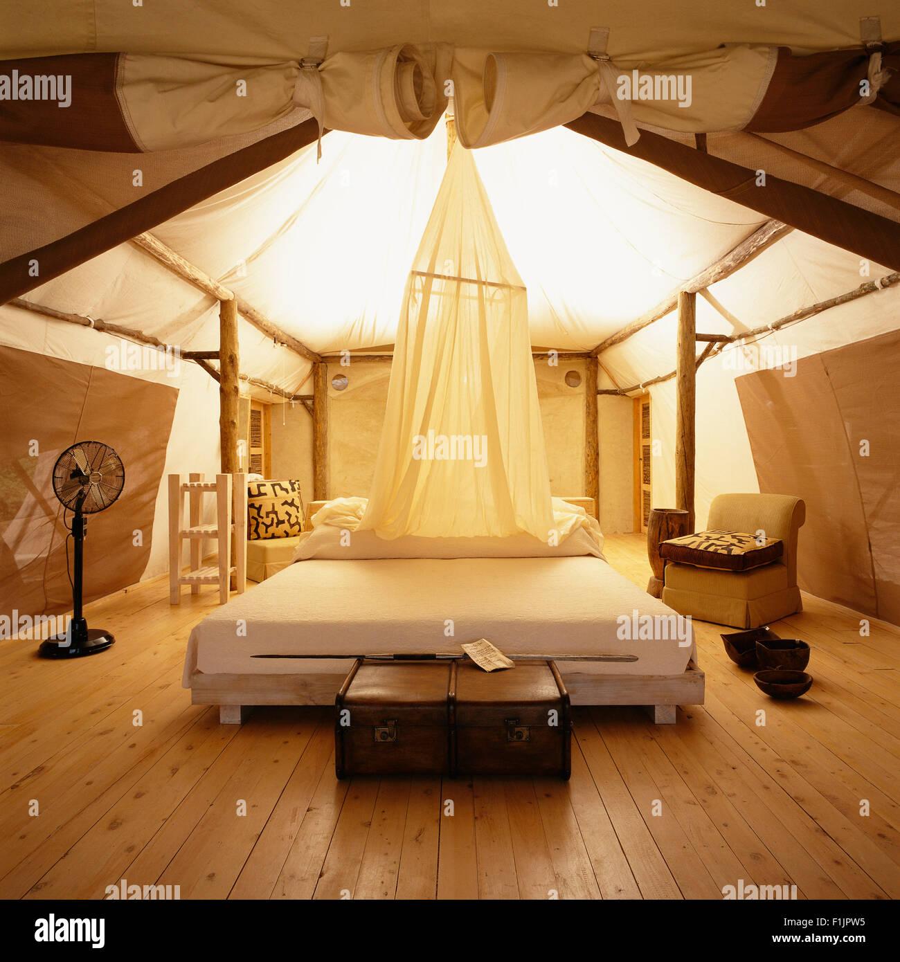 Interior of Hotel Room at Lake Manyara Tree Lodge, United Republic of Tanzania, Africa - Stock Image