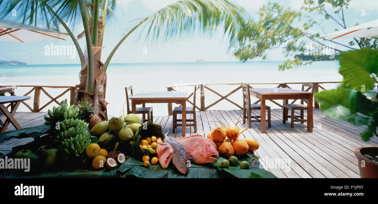 Game Lodge Patio on Zanzibar Beach, Tanzania, Africa - Stock Image