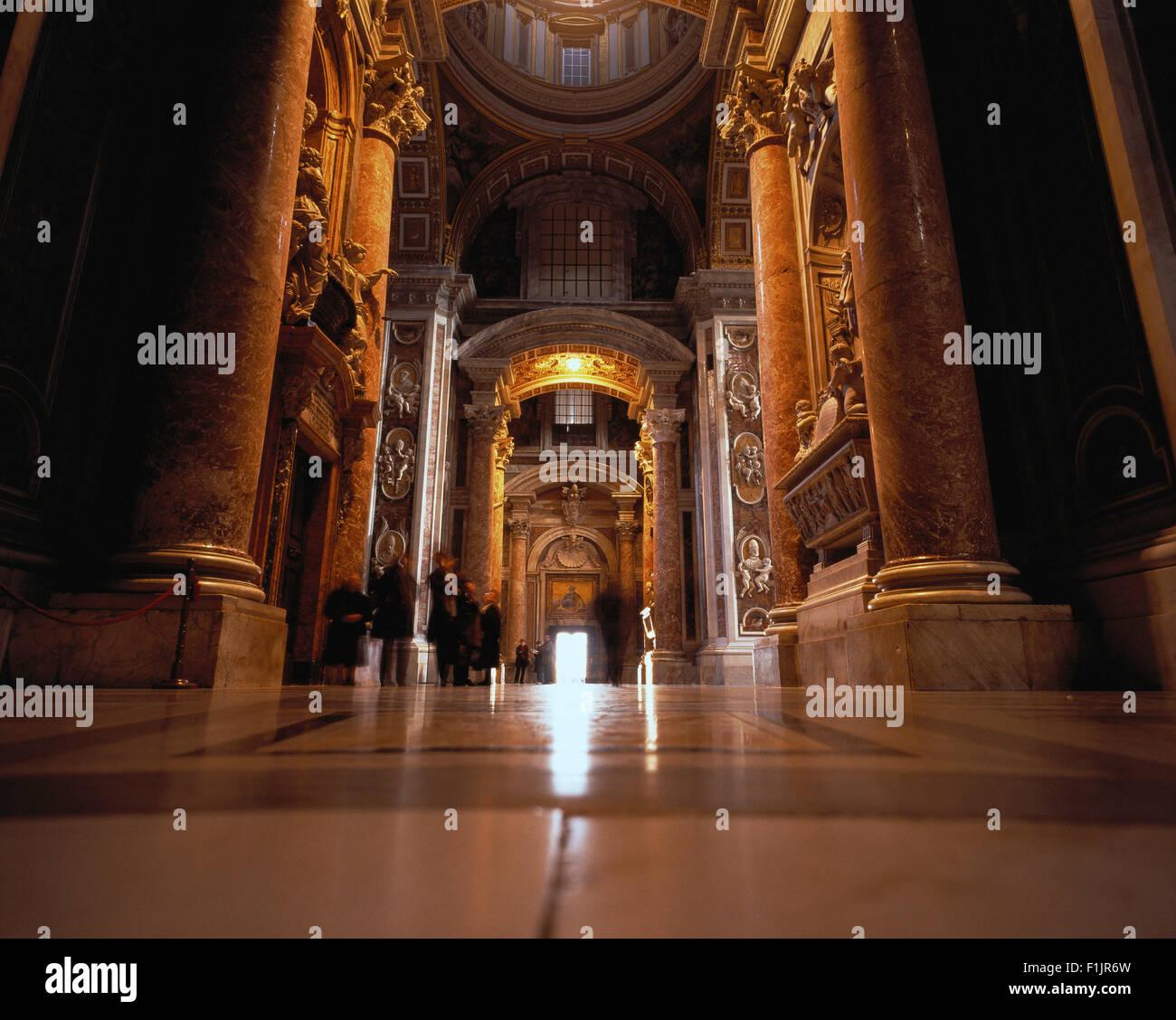 Interior St. Peter's Basilica Vatican City, Rome, Italy - Stock Image